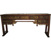 Large Chinese Altar Table with Inset Carved Red and Gilt Panels