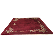 Vintage Nichols Handmade Dark Red  Wool Rug Made in China
