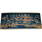 Vintage Small Chinese Blue Wool Rug with a Lake Scene