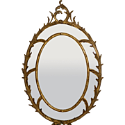 Elaborate  Italian Gilt Wood Oval Mirror with Beveled Glass