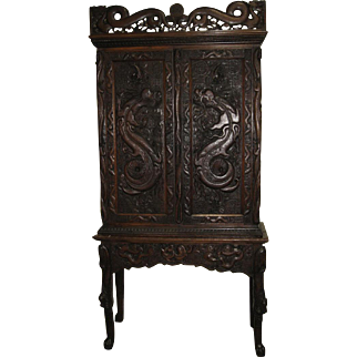 Antique Chinese  Elaborately Carved Wood  Chest on Separate Base