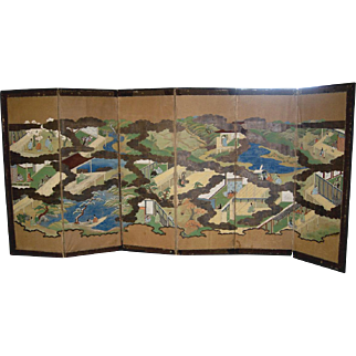 Japanese Meiji Period 6-panel Screen of Palace Scenes of the Heian Period