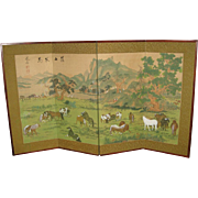 Vintage Chinese Painted 4-Panel Screen of a Landscape Setting with Horses