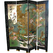 Vintage Chinese 4-Panel Coromandel Screen with Large Lotus Leaves and Flowers