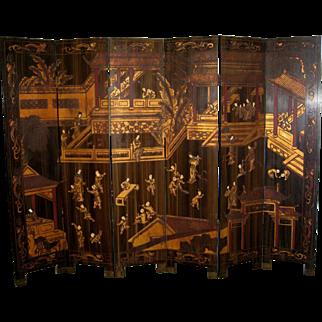 Chinese 6-Panel Coromandel Screen of a Palace Scene