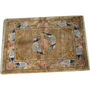 Small Chinese Silk Rug with Swan Moitf on Amber Ground