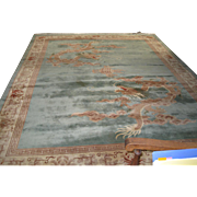 Chinese Woven Pale-Green and Beige  Wool  Rug with a pair of Elaborate Dragons