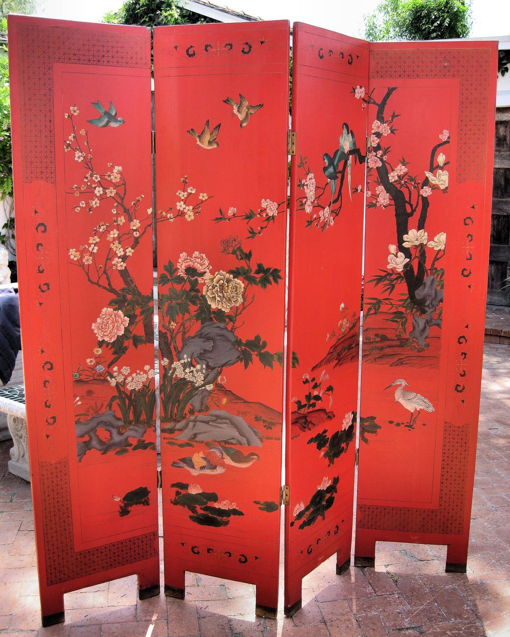 Chinese four panel red lacquer wood screen dynasty