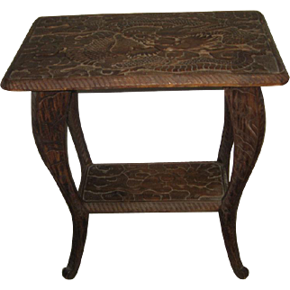 Small Chinese Wood Side Table with Carved Dragon Top