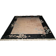 Chinese  Wool  Art Deco Style Rug in Black and Dark-Pink with Floral Motif