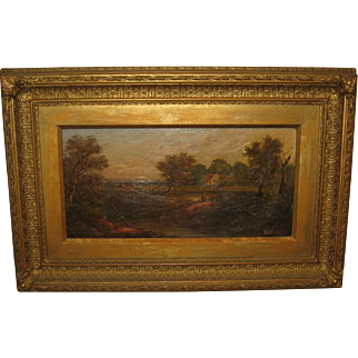 19th Century Oil Painting of Pastoral Scene, by Edwin Ballery
