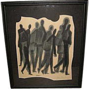"Charcoal painting on paper ""Group of Figures"", by Ben Shahn, (1898-1969)"