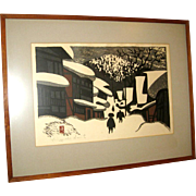 "20th Century Japanese Woodblock Print by Kiyoshi Saito of ""Winter Scene"""