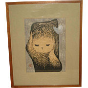 "1950's Japanese woodblock print of a ""Girl with a Butterfly by Kawano Kaoru"