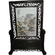 "Chinese Table Screen with a Painted Porcelain Tile of a ""River Scene"""