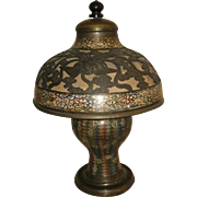 Antique Japanese Champlevé Bronze Lamp