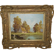 "Oil Painting on Canvas ""Landscape with Lake"" by Levens,"