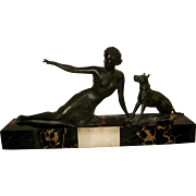 Art Deco Bronze Statue of a Beautiful Lady with her Dog
