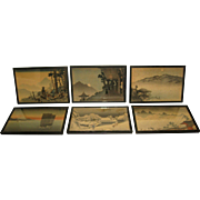 Set of Six Early 20th Century Japanese Framed Textile Prints of Various Landscape Scenes
