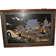 Chinese Wood Wall Plaque Carved and Painted with Lacquer of a Large Temple