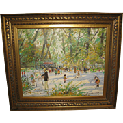 Oil Painting on Canvas of a French Scene  Day at the Park