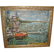 "Oil on Board of a ""Harbor Scene"" on Manhasset Bay, by L. Bayal"