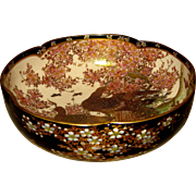 Antique Japanese Satsuma Blue Bowl with Flowering Tree and Peacocks