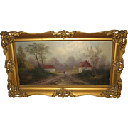 Oil Painting on Board  of a Bucolic Scene with a Female Figure