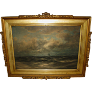 """Watercolor painting titled """"Seascape with Sail"""" by Robert Hopkin"""