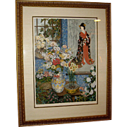Lithograph Reminiscent of a Floral Still Life and Geisha by John Powel