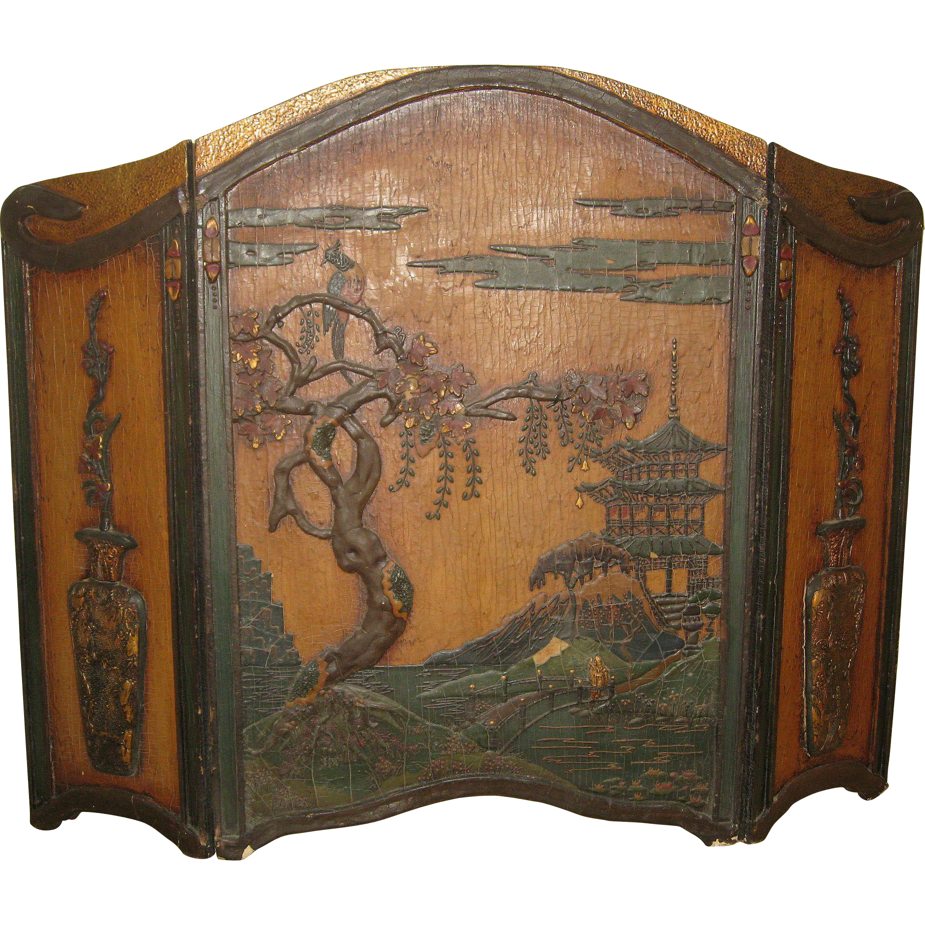 vintage wood fireplace screen with an asian theme dynasty collections antiques ruby lane. Black Bedroom Furniture Sets. Home Design Ideas
