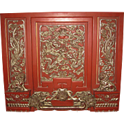 Exquisite Chinese Red Lacquered Wood with Gilt Accents Dressing Mirror