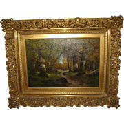 "Fine European Oil Oainting of a ""Forest Scene"", by H. Harpingway"