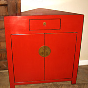 Chinese Red Lacquer Corner Cabinet