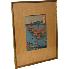 "Japanese Woodblock Print by Ando Hiroshige  ""Famous Views of 600 Odd Provinces"", (1853-1856)"