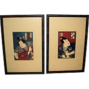 Pair of Japanese Woodblock Prints of Stage Actors by Toyohara Kunichika (1835-1900)