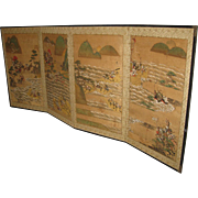 19th Century Japanese 4-Panel Screen of a Samurai Battle Scene