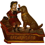 "19th Century Victorian Mechanical Bank ""Speaking Dog"""
