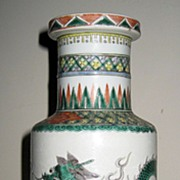 19th Century Chinese Porcelain Famille Verte Dragon Vase