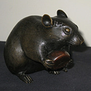 Japanese Meiji Period Finely Cast Bronze Rat