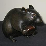 Japanese Meiji Period Finely Cast Bronze Rat
