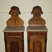 Pair of Austrian Walnut Bed Stands with Marble Tops
