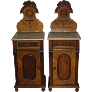 Pair of Antique Austrian Walnut Bed Stands with Marble Tops