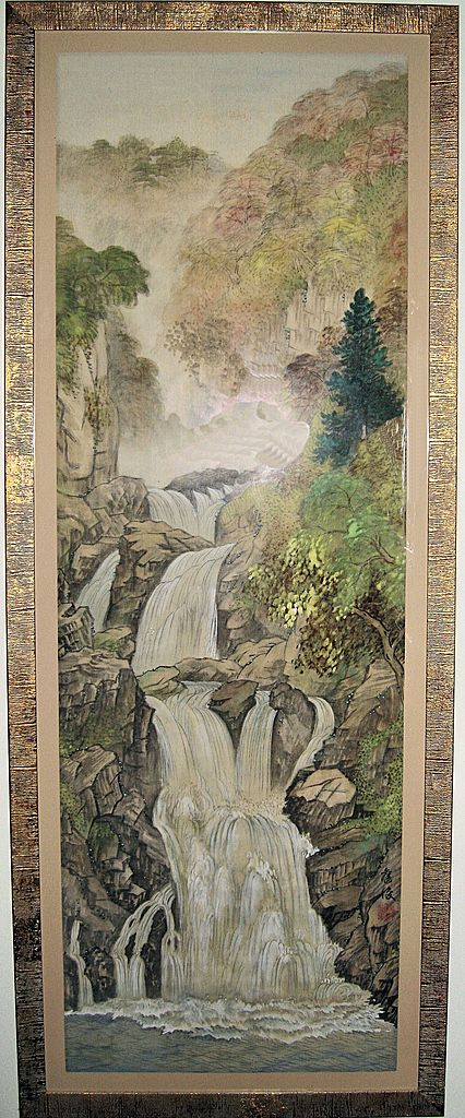 Japanese Waterfall Landscape Painting Dynasty