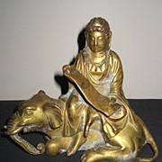 Japanese Gilt Bronze Kannon Seated on an Elephant