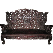 Exquisite Vintage Chinese Carved Wood Sofa