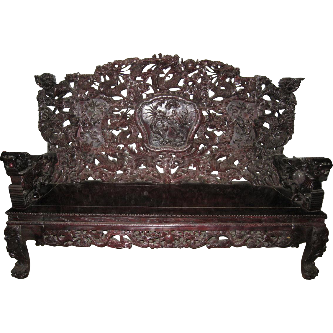 Exquisite vintage chinese carved wood sofa from