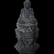 Chinese Gray Pottery Seated Buddha