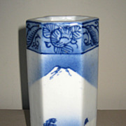 Japanese Blue & White Porcelain Hexagonal Vase