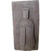 Chinese Pottery Tile of Court Official with a Stele